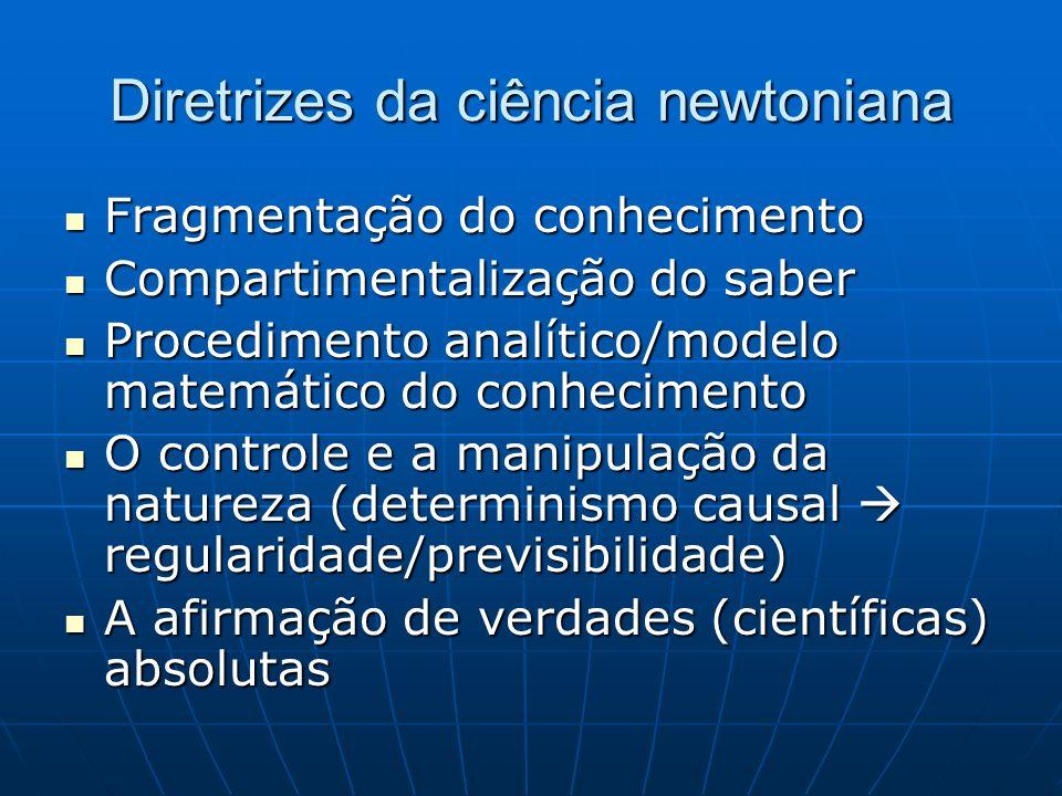 Diretrizes da ciência newtoniana Fragmentação do conhecimento Fragmentação do conhecimento Compartimentalização do saber Compartimentalização do saber
