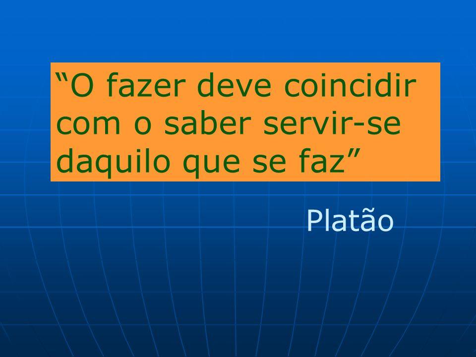 O fazer deve coincidir com o saber servir-se daquilo que se faz Platão