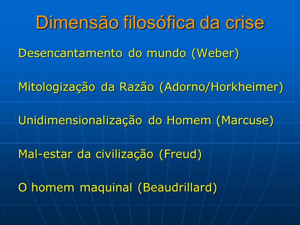Dimensão filosófica da crise Desencantamento do mundo (Weber) Mitologização da Razão (Adorno/Horkheimer) Unidimensionalização do Homem (Marcuse) Mal-e