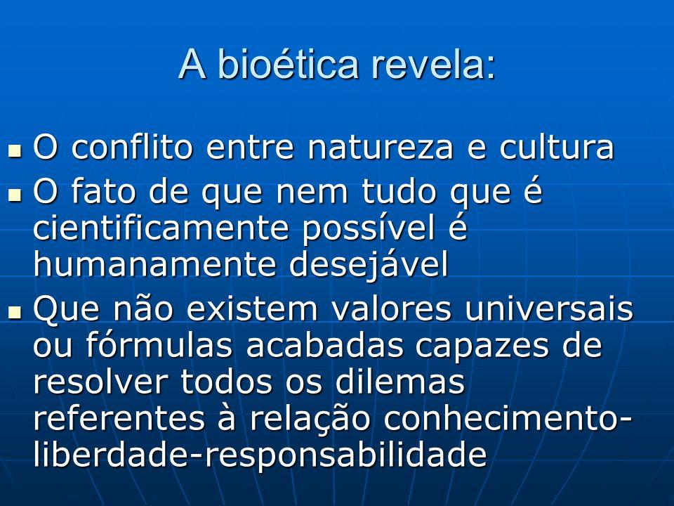 A bioética revela: O conflito entre natureza e cultura O conflito entre natureza e cultura O fato de que nem tudo que é cientificamente possível é hum