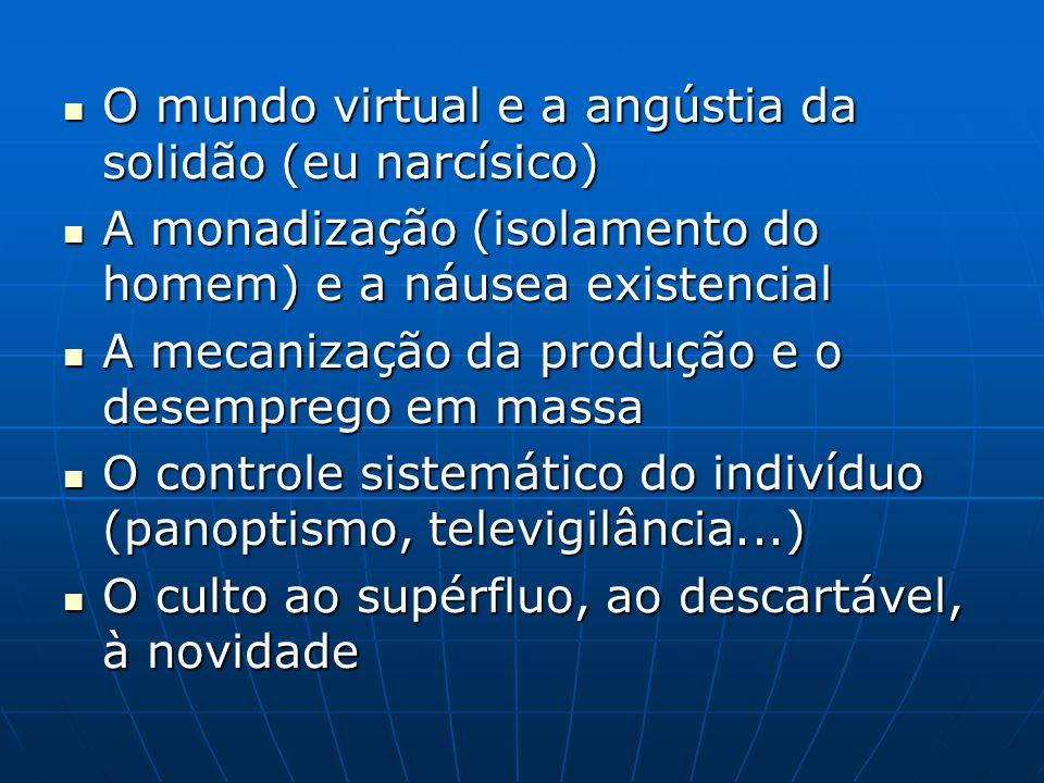 O mundo virtual e a angústia da solidão (eu narcísico) O mundo virtual e a angústia da solidão (eu narcísico) A monadização (isolamento do homem) e a