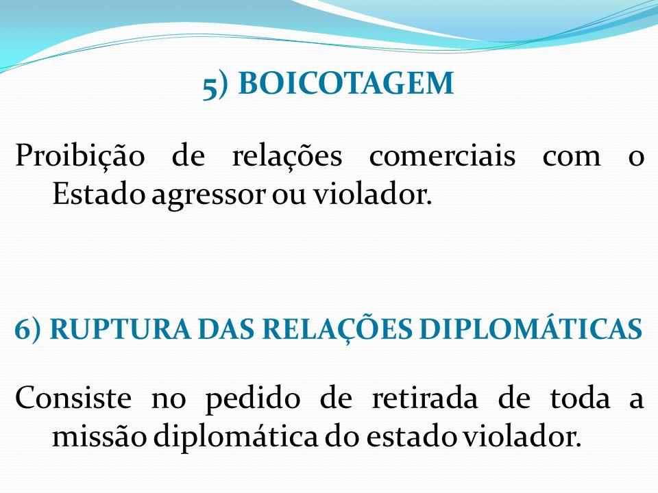 5) BOICOTAGEM Proibição de relações comerciais com o Estado agressor ou violador.