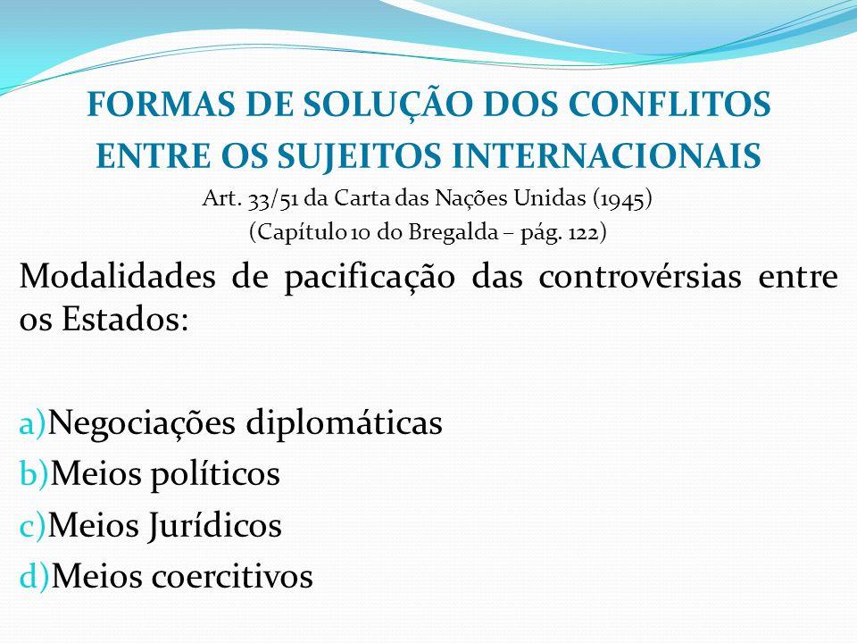 FORMAS DE SOLUÇÃO DOS CONFLITOS ENTRE OS SUJEITOS INTERNACIONAIS Art.