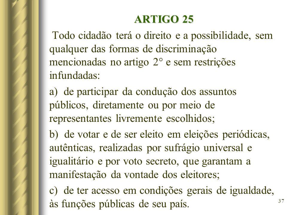 ARTIGO 25 Todo cidadão terá o direito e a possibilidade, sem qualquer das formas de discriminação mencionadas no artigo 2° e sem restrições infundadas