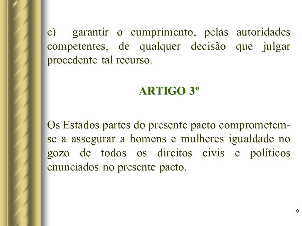 9 c) garantir o cumprimento, pelas autoridades competentes, de qualquer decisão que julgar procedente tal recurso. ARTIGO 3º Os Estados partes do pres