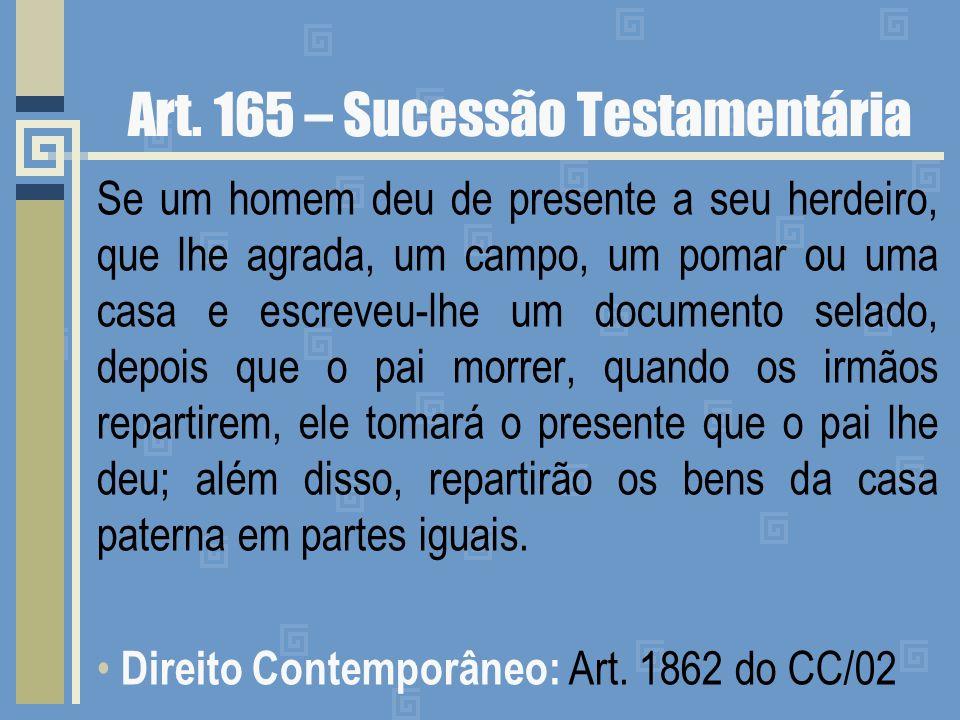 Art. 165 – Sucessão Testamentária Se um homem deu de presente a seu herdeiro, que lhe agrada, um campo, um pomar ou uma casa e escreveu-lhe um documen