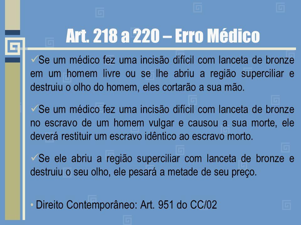 Art. 218 a 220 – Erro Médico Se um médico fez uma incisão difícil com lanceta de bronze em um homem livre ou se lhe abriu a região superciliar e destr