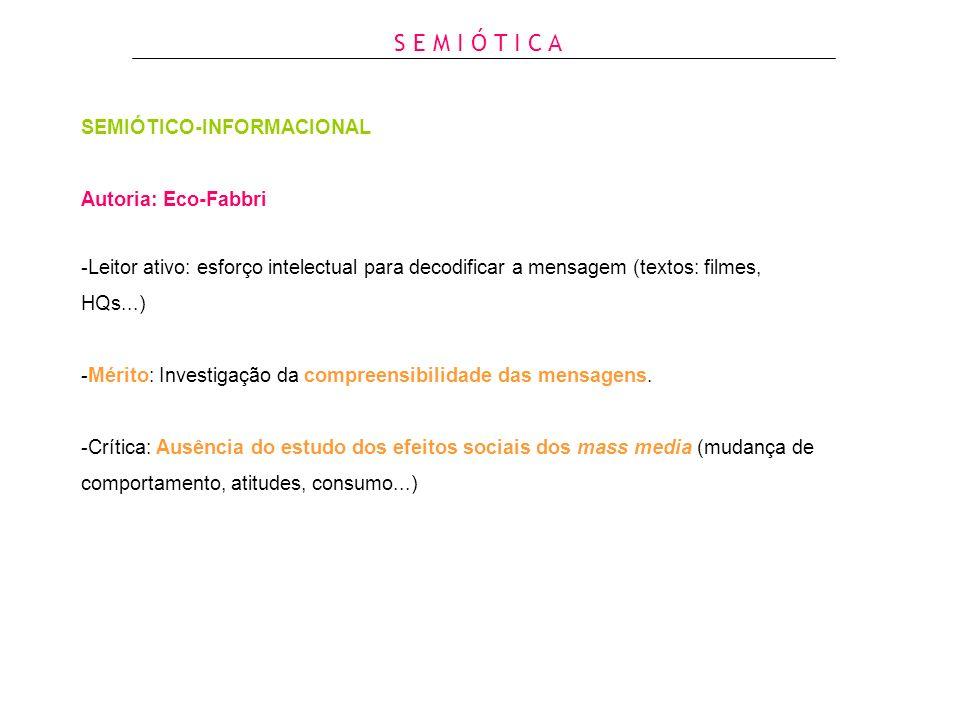 SEMIÓTICO-INFORMACIONAL Autoria: Eco-Fabbri -Leitor ativo: esforço intelectual para decodificar a mensagem (textos: filmes, HQs...) -Mérito: Investiga