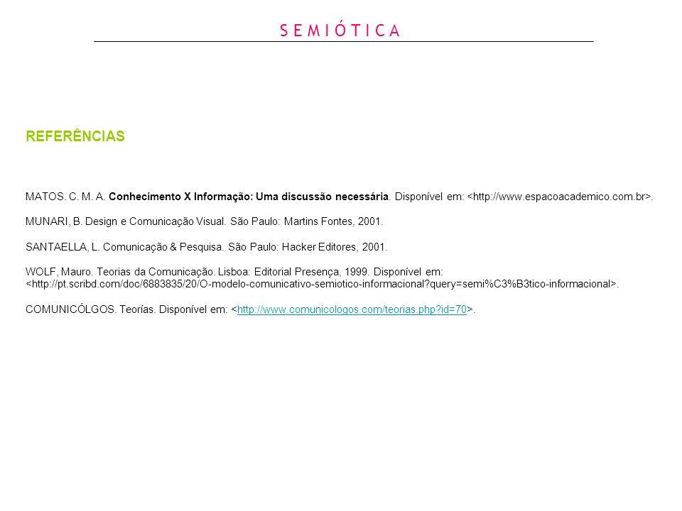 MATOS. C. M. A. Conhecimento X Informação: Uma discussão necessária. Disponível em:. MUNARI, B. Design e Comunicação Visual. São Paulo: Martins Fontes