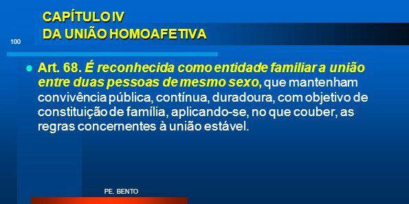 CAPÍTULO IV DA UNIÃO HOMOAFETIVA Art. 68. É reconhecida como entidade familiar a união entre duas pessoas de mesmo sexo, que mantenham convivência púb