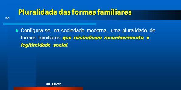 Pluralidade das formas familiares Configura-se, na sociedade moderna, uma pluralidade de formas familiares que reivindicam reconhecimento e legitimida