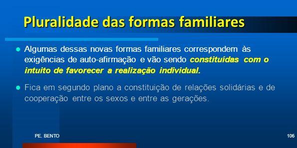 PE. BENTO106 Pluralidade das formas familiares Algumas dessas novas formas familiares correspondem às exigências de auto-afirmação e vão sendo constit
