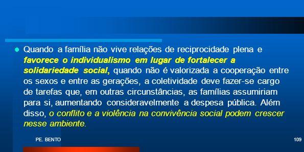 PE. BENTO109 Quando a família não vive relações de reciprocidade plena e favorece o individualismo em lugar de fortalecer a solidariedade social, quan