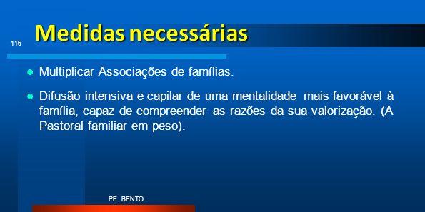 Medidas necessárias Multiplicar Associações de famílias. Difusão intensiva e capilar de uma mentalidade mais favorável à família, capaz de compreender