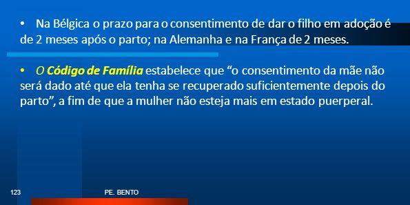 PE. BENTO 123 Na Bélgica o prazo para o consentimento de dar o filho em adoção é de 2 meses após o parto; na Alemanha e na França de 2 meses. O Código