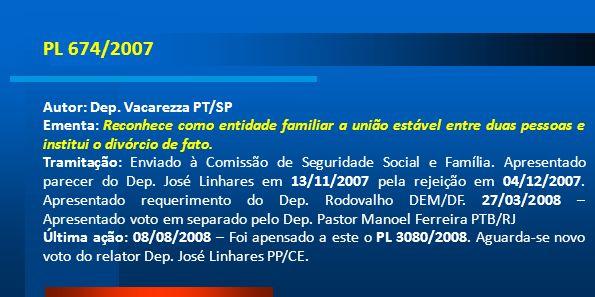 PL 674/2007 Autor: Dep. Vacarezza PT/SP Ementa: Reconhece como entidade familiar a união estável entre duas pessoas e institui o divórcio de fato. Tra