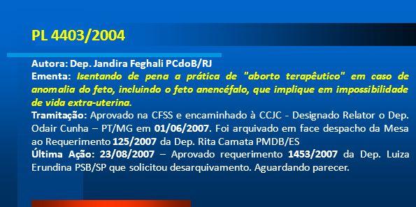 PL 4403/2004 Autora: Dep. Jandira Feghali PCdoB/RJ Ementa: Isentando de pena a prática de