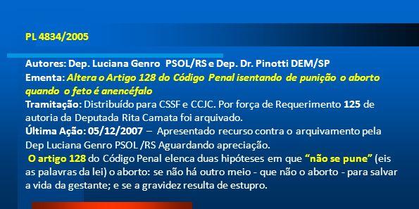 PL 4834/2005 Autores: Dep. Luciana Genro PSOL/RS e Dep. Dr. Pinotti DEM/SP Ementa: Altera o Artigo 128 do Código Penal isentando de punição o aborto q
