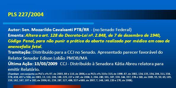 PLS 227/2004 Autor: Sen. Mozarildo Cavalcanti PTB/RR - (no Senado Federal) Ementa: Altera o art. 128 do Decreto-Lei nº. 2.848, de 7 de dezembro de 194