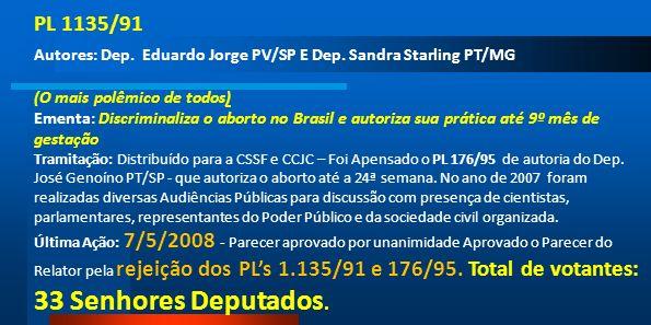 PL 1135/91 Autores: Dep. Eduardo Jorge PV/SP E Dep. Sandra Starling PT/MG (O mais polêmico de todos) Ementa: Discriminaliza o aborto no Brasil e autor