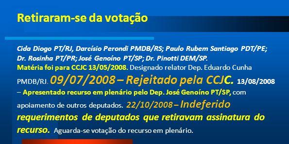 Retiraram-se da votação Cida Diogo PT/RJ, Darcísio Perondi PMDB/RS; Paulo Rubem Santiago PDT/PE; Dr. Rosinha PT/PR; José Genoíno PT/SP; Dr. Pinotti DE