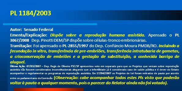 PL 1184/2003 Autor: Senado Federal Ementa/Explicação: Dispõe sobre a reprodução humana assistida. Apensado o PL 3067/2008 Dep. Pinotti DEM/SP dispõe s