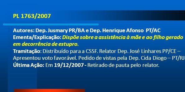 PL 1763/2007 Autores: Dep. Jusmary PR/BA e Dep. Henrique Afonso PT/AC Ementa/Explicação: Dispõe sobre a assistência à mãe e ao filho gerado em decorrê
