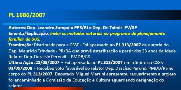 PL 1686/2007 Autores: Dep. Leandro Sampaio PPS/RJ e Dep. Dr. Talmir PV/SP Ementa/Explicação: Inclui os métodos naturais no programa de planejamento fa