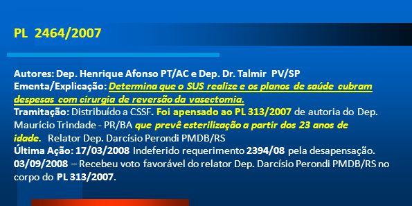 PL 2464/2007 Autores: Dep. Henrique Afonso PT/AC e Dep. Dr. Talmir PV/SP Ementa/Explicação: Determina que o SUS realize e os planos de saúde cubram de
