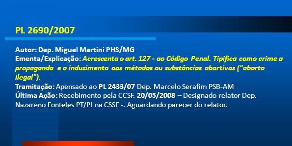 PL 2690/2007 Autor: Dep. Miguel Martini PHS/MG Ementa/Explicação: Acrescenta o art. 127 - ao Código Penal. Tipifica como crime a propaganda e o induzi
