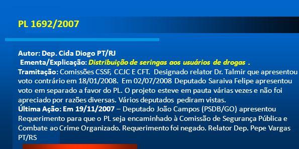 PL 1692/2007 Autor: Dep. Cida Diogo PT/RJ Ementa/Explicação: Distribuição de seringas aos usuários de drogas. Tramitação: Comissões CSSF, CCJC E CFT.