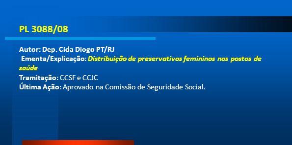 PL 3088/08 Autor: Dep. Cida Diogo PT/RJ Ementa/Explicação: Distribuição de preservativos femininos nos postos de saúde Tramitação: CCSF e CCJC Última