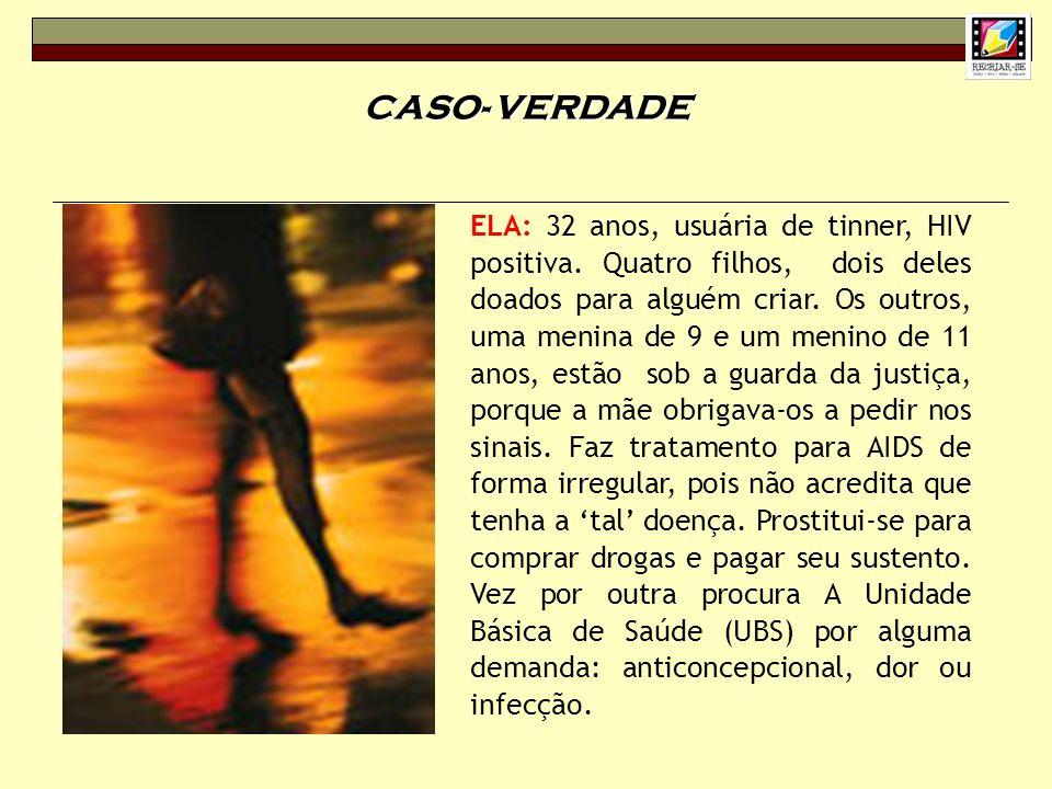 CASO- VERDADE ELA: 32 anos, usuária de tinner, HIV positiva. Quatro filhos, dois deles doados para alguém criar. Os outros, uma menina de 9 e um menin