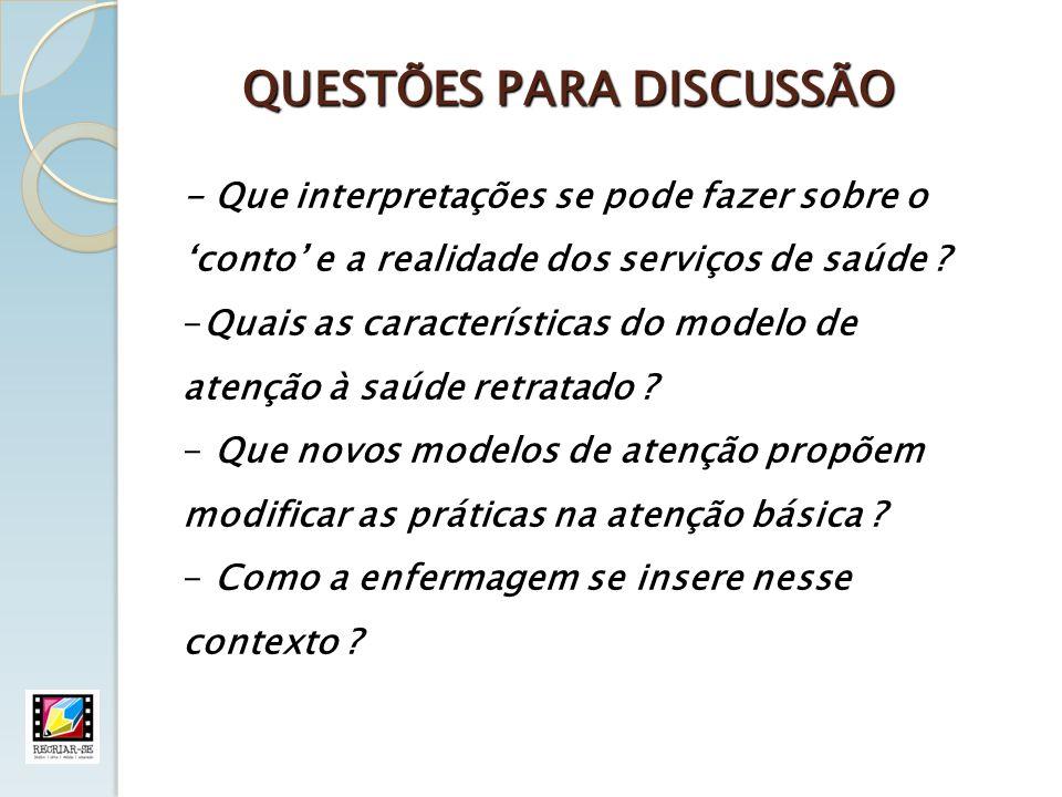 QUESTÕES PARA DISCUSSÃO - Que interpretações se pode fazer sobre o conto e a realidade dos serviços de saúde ? -Quais as características do modelo de