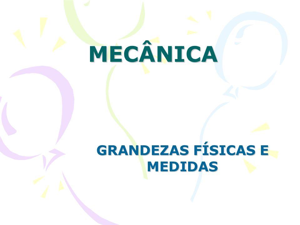Grandezas físicas e medidas Sistemas de Unidades Mecânicas Relacionamos a seguir os principais sistemas de unidades mecânicas e suas unidades fundamentais: