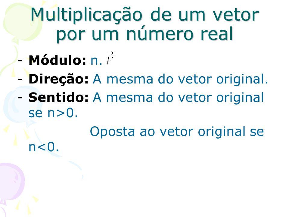 Multiplicação de um vetor por um número real -Módulo: n. -Direção: A mesma do vetor original. -Sentido: A mesma do vetor original se n>0. Oposta ao ve