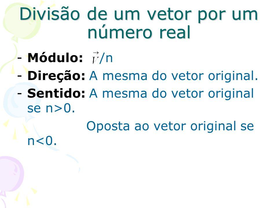 Divisão de um vetor por um número real -Módulo: /n -Direção: A mesma do vetor original. -Sentido: A mesma do vetor original se n>0. Oposta ao vetor or