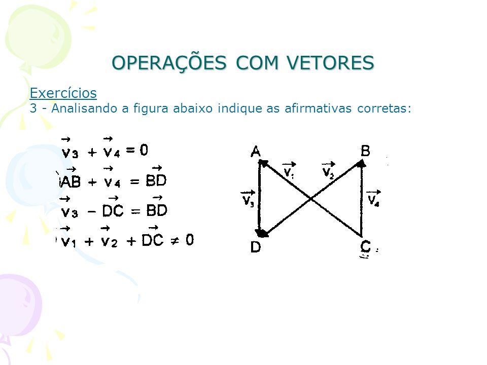 OPERAÇÕES COM VETORES Exercícios 3 - Analisando a figura abaixo indique as afirmativas corretas: