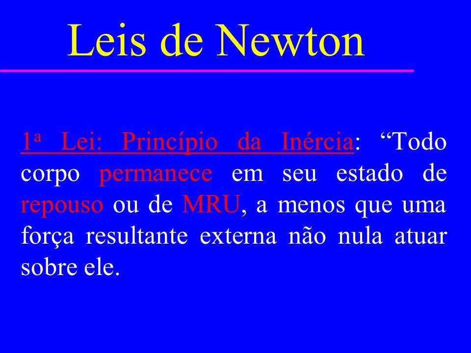 Leis de Newton 1 a Lei: Princípio da Inércia: Todo corpo permanece em seu estado de repouso ou de MRU, a menos que uma força resultante externa não nula atuar sobre ele.