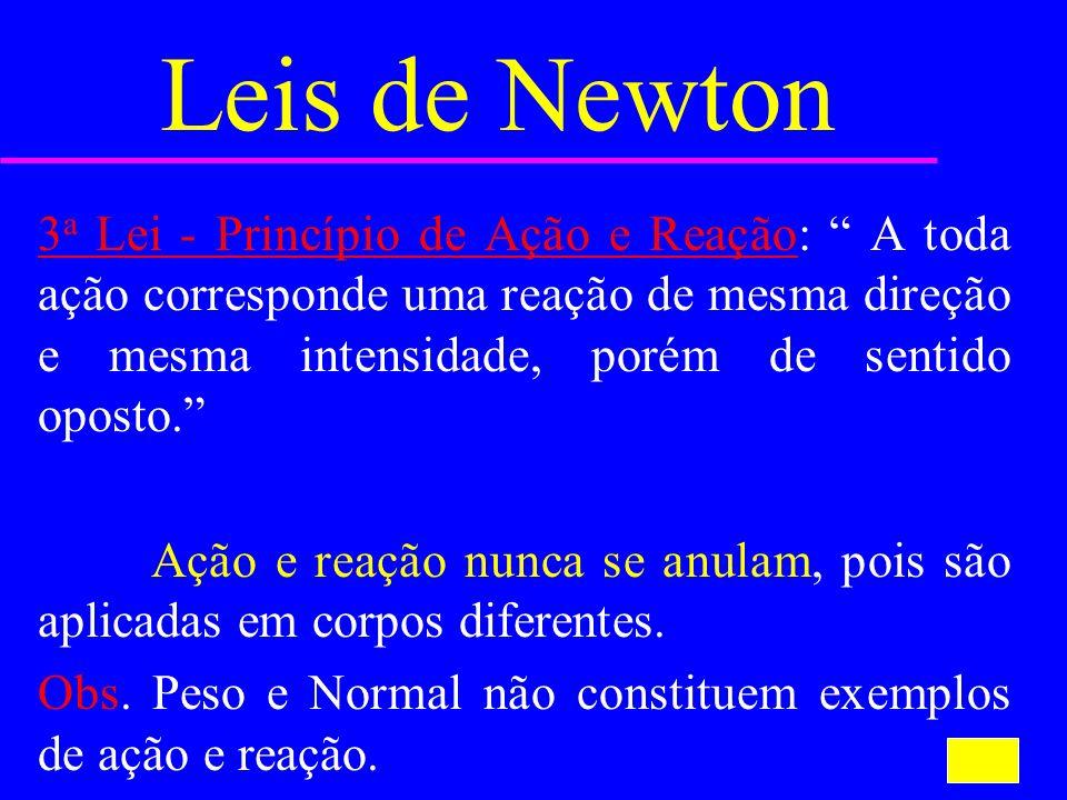 Leis de Newton 3 a Lei - Princípio de Ação e Reação: A toda ação corresponde uma reação de mesma direção e mesma intensidade, porém de sentido oposto.