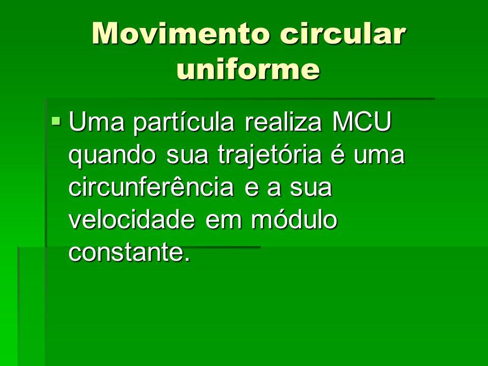 MCU - Conceitos Período (T) tempo gasto pelo móvel para completar uma volta completa.