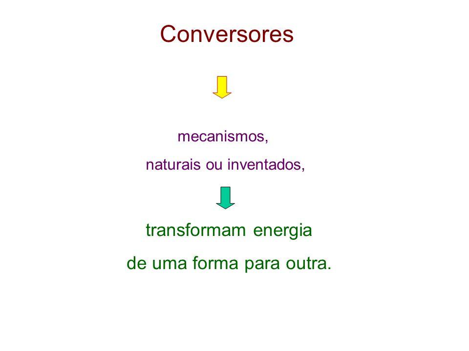 Conversores mecanismos, naturais ou inventados, transformam energia de uma forma para outra.