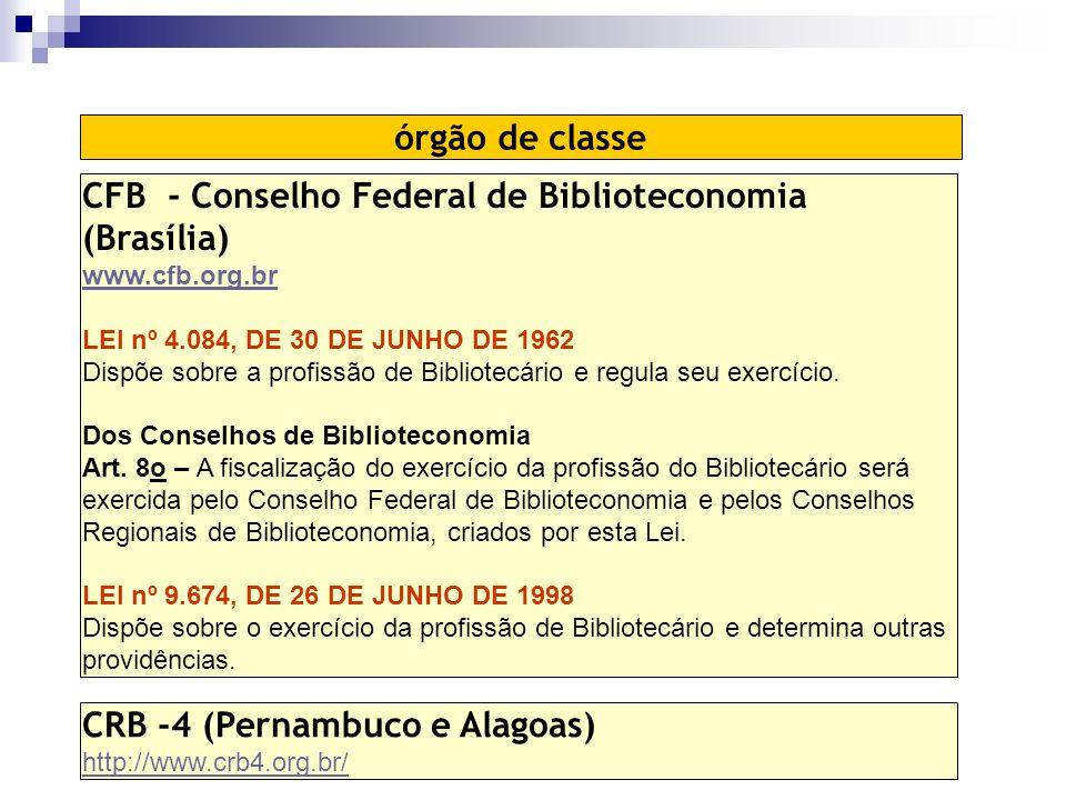 CFB - Conselho Federal de Biblioteconomia (Brasília) www.cfb.org.br LEI nº 4.084, DE 30 DE JUNHO DE 1962 Dispõe sobre a profissão de Bibliotecário e regula seu exercício.