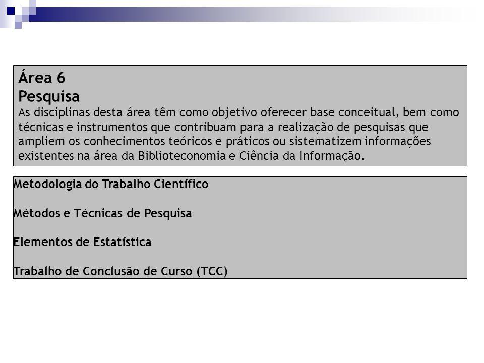Metodologia do Trabalho Científico Métodos e Técnicas de Pesquisa Elementos de Estatística Trabalho de Conclusão de Curso (TCC) Área 6 Pesquisa As dis