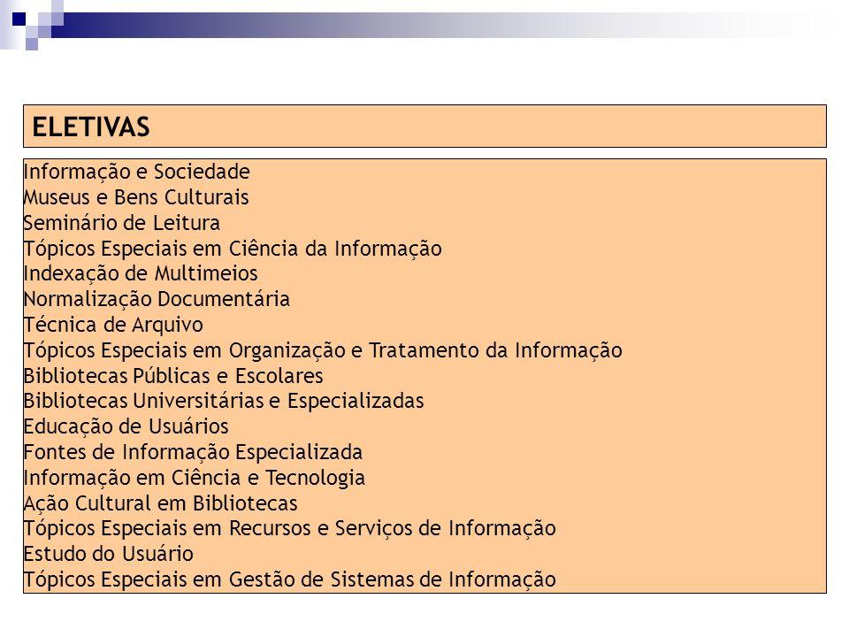 Informação e Sociedade Museus e Bens Culturais Seminário de Leitura Tópicos Especiais em Ciência da Informação Indexação de Multimeios Normalização Do