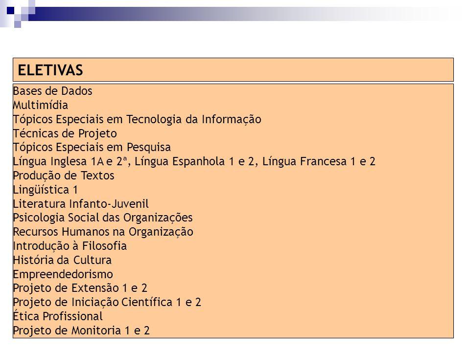 Bases de Dados Multimídia Tópicos Especiais em Tecnologia da Informação Técnicas de Projeto Tópicos Especiais em Pesquisa Língua Inglesa 1A e 2ª, Líng