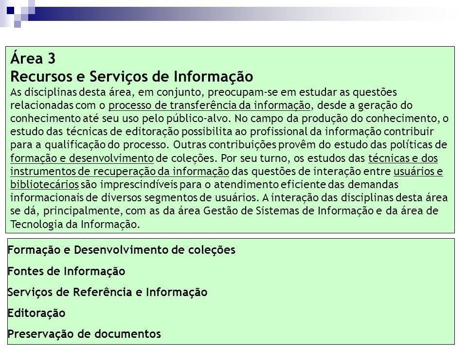 Formação e Desenvolvimento de coleções Fontes de Informação Serviços de Referência e Informação Editoração Preservação de documentos Área 3 Recursos e
