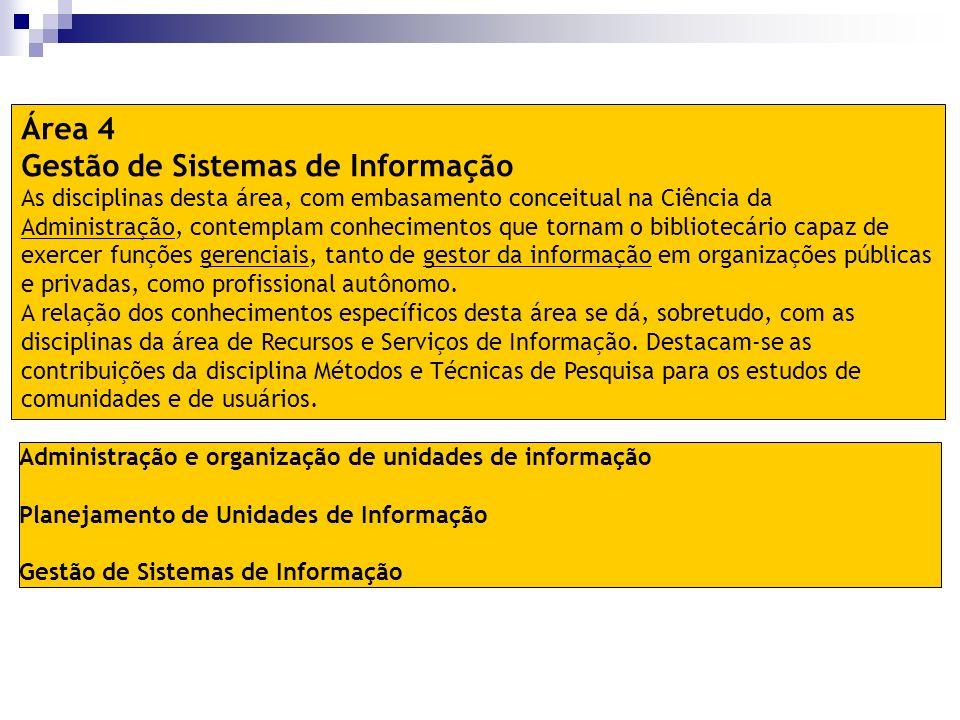 Administração e organização de unidades de informação Planejamento de Unidades de Informação Gestão de Sistemas de Informação Área 4 Gestão de Sistema