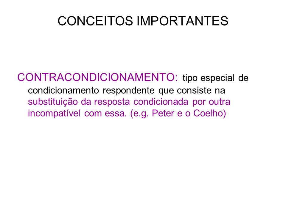 CONCEITOS IMPORTANTES CONTRACONDICIONAMENTO: tipo especial de condicionamento respondente que consiste na substituição da resposta condicionada por ou