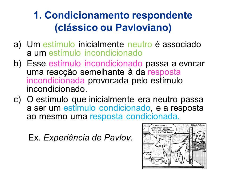 1. Condicionamento respondente (clássico ou Pavloviano) a)Um estímulo inicialmente neutro é associado a um estímulo incondicionado b)Esse estímulo inc